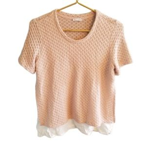 || ZARA || Pink Knit with Built in Blouse SS Top